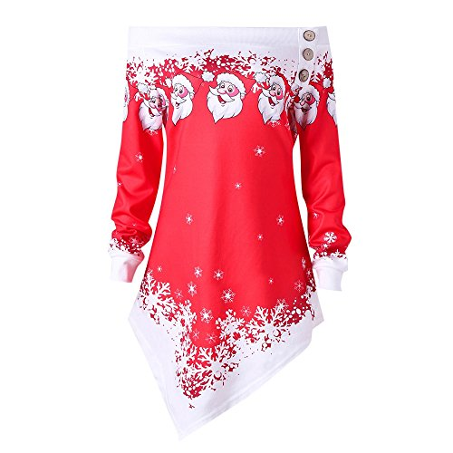 Hannea Plus Size Christmas Off The Shoulder Asymmetric Sweatshirt