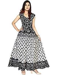Modern Kart Women's Cotton Jaipuri Printed Wrap Around Skirt(Mkskt074, Black, Free Size)
