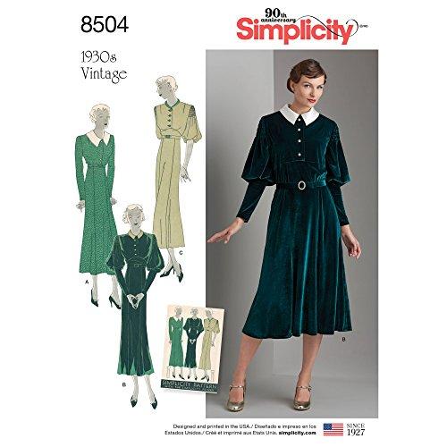 Simplicity Patrons de Robe Vintage Patron de Couture, Papier, Blanc, 22x 15x 1cm