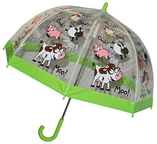 Regenschirm Schaf / Bauernhof Tiere - Kinderschirm transparent Ø 70 cm - Kinder Stockschirm - für Mädchen Jungen Schirm Kinderregenschirm / Glockenschirm Tier Schafe Kuh durchsichtig & durchscheinend