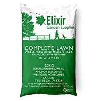 Elixir Gardens   COMPLETE LAWN   Weed, Feed and Moss Killer/ Lawn Green Up   Treats up to 625m²   20kg