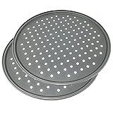 Happy Friends - Molde para Pizza con Agujeros - Acero al Carbono - Recubrimiento Antiadherente - Diámetro 32 cm - Set de 2