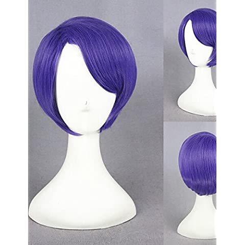 Pelucas de la manera conveniente y cómodo corto tokyo peluca ghoul tsukiyama Shuu peluca cosplay púrpura sintético del anime cosplay peluca de pelo vestuario cs-195i