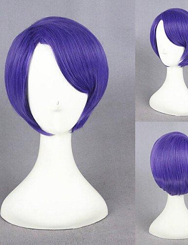 Europäischen Mode Perücken Haar Perücke 12INCH kurz Perücke Tokyo Ghoul Shuu Tsukiyama Perücke Cosplay Lila Kunststoff des Anime Cosplay Haar Kostüm ()
