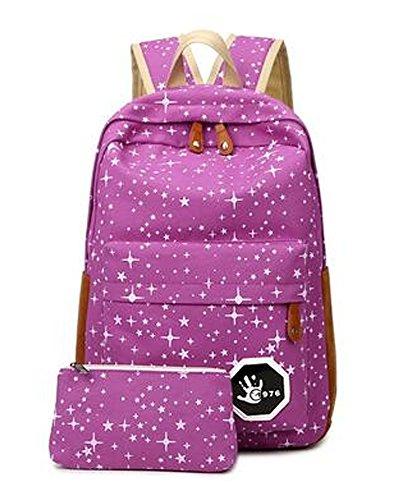 f3eb6369e2e8a Minetom Damen Schulrucksack Bling Sterne Schulranzen Schultasche Rucksack  Freizeitrucksack Daypacks Backpack 2 Stücke Violett