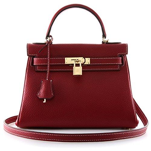 Macton - Bolso al hombro de Cuero para mujer 28cm, Rojo (Wine Red), 28cm