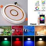 WIVION Proyector del Techo de Acero para focos Techo de la Sala, proyectores bathroomCeiling, Bluetooth Inteligente 7W LED Downlight RGBWC, App 5 en 1 Puestos empotradas iluminación Regulable
