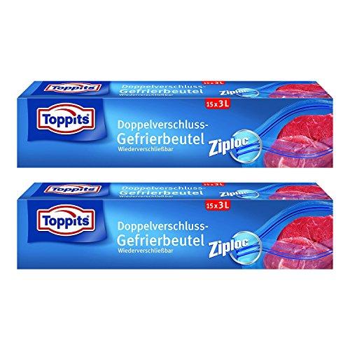 Toppits Double fermoir Sacs 3L (27 x 24 cm), Lot de 2 (2 x 15 sachets)