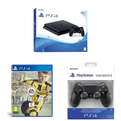 PlayStation 4 Slim (PS4) - Consola de 500 GB + FIFA 17 + Mando Dualshock v2