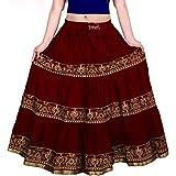 Women's Printed Long Skirt (Maroon, Free Size)