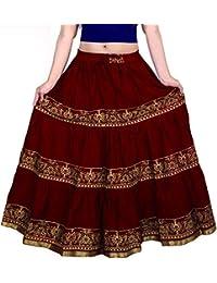 Women Maxi Skirt (ks 2525_Maroon _Free Size)