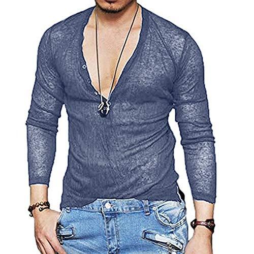 ➤Spätestens Bekleidung Oberteile,Loveso Herren Longsleeve Langarmshirt Shirt mit Grandad-Ausschnitt Männer Freizeit Lange Ärmel Taste V-Ausschnitt Tops Tuniken Streetwear -