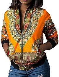 Las Señoras Dashiki De Manga Larga De La Africana Moda Impresión Vintage De Corta Chaqueta Casual
