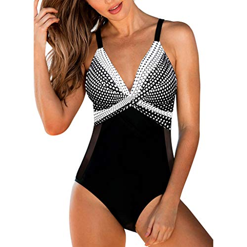Mesh Bikini Panty (Bfmyxgs Frauen Plus größe Welle Punkt druckgaze spleißen Bikini einteiliger Badeanzug mesh)