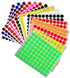 KIDS colored round dots inch (0.5 ) art crafts and games Stickers 15 colors 16 Sheets - 1280 Pack by Royal Green