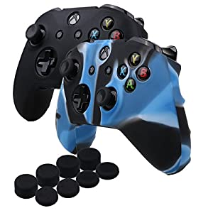 YoRHa Silikon Hülle Abdeckungs Haut Kasten für Microsoft Xbox One X & Xbox One S controller x 1 (schwarz&Camouflage blau) Mit PRO aufsätze thumb grips x 8