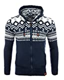 Reslad Herren Grobstrick Norweger Winter Strickjacke mit Kapuze RS-3104 Blau M