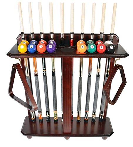 Queue Rack nur-10Pool-Billard Stick & Ball Set Boden-Ständer wählen Sie Mahagoni, schwarz oder Eiche Finish, mahagoni - Mahagoni Böden