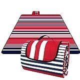 HOMFA 200 x 200 cm Picknickdecke XXL Stranddecke aus Fleece Wasserdicht groß Faltbar Leicht mit Tragegriff Matte Decke für Camping Picknick Reise