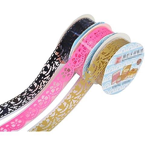 TININNA Adesivo Pizzo Nastro Trim Washi decorativo Mestiere nastro scavato fuori il merletto adesivo nastro adesivo Adesivi(Rosa caliente,Negro,Dorado) - Rosa Magnete Nastro Rosa