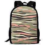 Toby Robeson Zaino Scuola Camouflage Motivo Mimetico Camo Khaki Borsa da Viaggio Casual per Ragazze Adolescenti