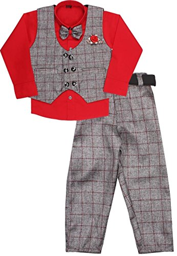 Miss U kids party wear waistcoat suit set for boys (red, 1-2 Years)