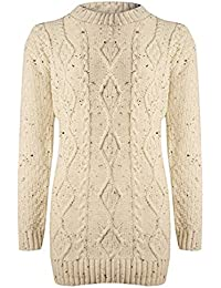 C25 Celebmodelook NEW WOMENS CABLE KNITTED LADIES PLUS SIZE LONG JUMPER IN 08-22