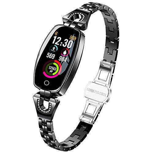 TaStone Sport-Armband für Damen, Herzfrequenz-Armbanduhr, Fitness-Tracker, mit Blutdruck, Schlaf- und Kalorienverbrauch, Schrittzähler für iOS, iPhone Xs, Samsung S9 Plus, Android Smartphone schwarz