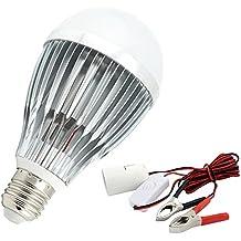 Bonlux 12W 12V E27 Bombilla LED Luz Cálida 3000K ES LED Kit de Lámpara Solar con pinza para Motorhome RV Marina DC batería sistema de iluminación Solar