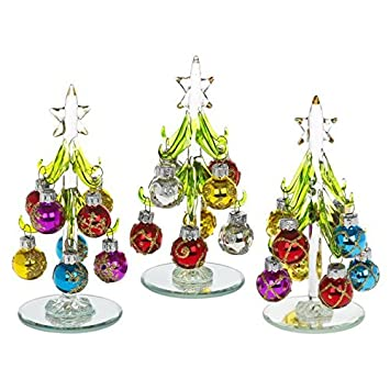 beautiful small glass christmas tree decorated with coloured glittered baubles an ideal fun christmas gift or decoration for the home or desk top - Glass Christmas Tree