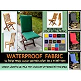 Zippy Waterproof High Back Dining Chair Cushion - DARK NAVY   Beige piping - Fits Small Folding Chairs - Garden Furniture