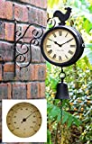 About Time Bracket Mounted Cockerel and Bell Garden Outdoor Clock and Thermometer - 47cm (18¾in)