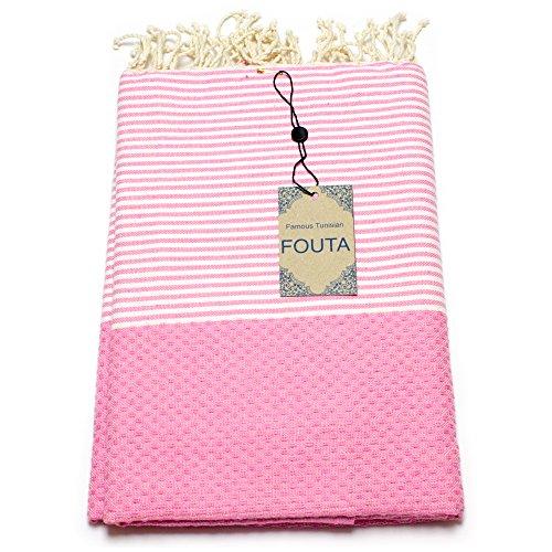 Fouta Abeille Hamam-Tuch Sauna-Tuch Pestemal XXL Extra Groß 197 x 100cm - 100% Baumwolle aus Tunesien als Strand-Tuch, für Bad, Picnic, Yoga, Schal (Orientalisches Türkisches Bade-Tuch) (Rosa)