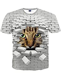 Yonbii Mode femme Cat animal hommes drôle 3D Print Casual T-shirt