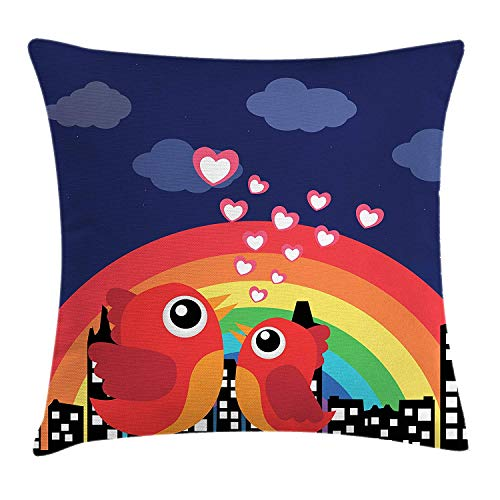 City Love Throw Pillow Cushion Cover, Vibrant Color Rising Rainbow Behind Silhouette of a Town and Tweeting Tiny Birds, Decorative Square Accent Pillow Case, 18 X 18 inches, Multicolor (Silhouette Town Halloween)