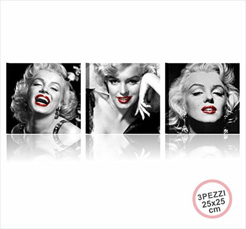 Marilyn Sexy Labbra Rosse - Tris Quadri Moderni Stampati su Tela 3X(25x25 cm) Monroe Fashion Arredamento casa Salotto Bar Quadro Moderno Stampe Red Lips Film Sensuale