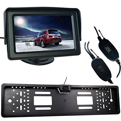 phansthy inalámbrico Kit de cámara de visión trasera para coche Monitor y monitor LCD de 4,3pulgadas y soporte universal de Europea de la matrícula CMOS Cámara de Reserva con IP68grado impermeable 170grados vista ángel visión nocturna