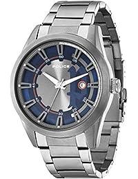 Police PL.94387AEU/03M - Reloj de cuarzo para hombres con esfera azul y correa plateada de acero inoxidable