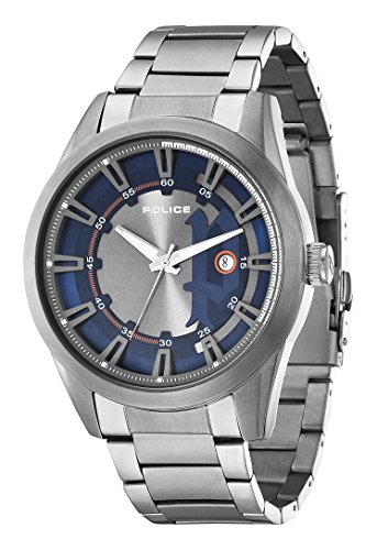 Police-Mens-PL94387AEU03M-Quartz-Watch-with-Blue-Dial-Analogue-Display-and-Stainless-Steel-Plated-Bracelet