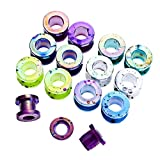 HuaCan 12 Stück Flesh Tunnel set Plug Macaron Farbe Punkte Design Acryl Double Flared Außengewinde Tunnel set Expander 2mm-12mm
