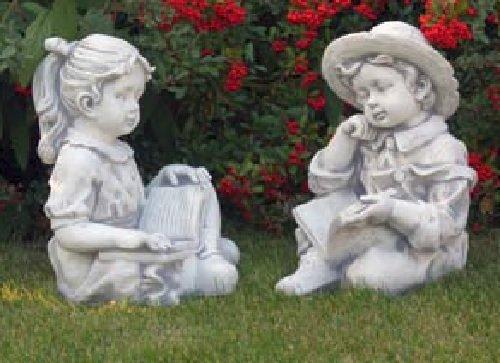 Junge & Mädchen mit Buch Set (S101145+S101146) Gartenfiguren Statuen 44 cm
