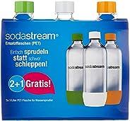 SodaStream Zestaw Promocyjny Butelek Z Odpornego Na Pęknięcia, Krystalicznie Czystego PET, 1 Litr 2 + 1 Sztuki