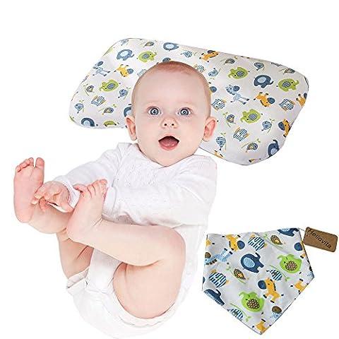 Baby Gedächtnis-Schaum-Kissen-Kind-schützender Schlafkissen-organischer Baumwollkissenbezug mit Sorten der netten Muster für Neugeborenes u. Säugling, neugeborene Kissen, zum des flachen Kopfes für Plagiozephalie zu verhindern (Pferd & (Pferd Neugeborene Krippe)