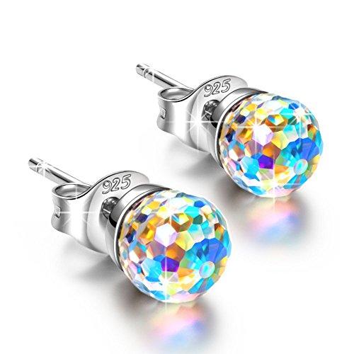 307014d2c21a Alex Perry Fantástico Plata 925 con Cristales Swarovski Redondo Aurore  Boreale Pendientes Aretes Mujer joyería regalos