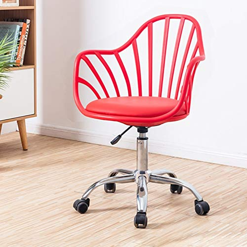 Bürostuhl Schreibtisch Leder Gaming Chair, Schwarz, Grau, Rot, Weiß Task Swivel Executive Computer Stühle Ergonomische Mobile Lifting Bürodrehstuhl, Home Fashion Drehstuhl (Color : Red) -