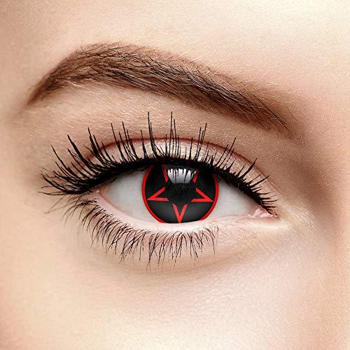 (Coloured Contacts Pentagramm Farbige Kontaktlinsen Ohne Stärke Rot (90 Tage))