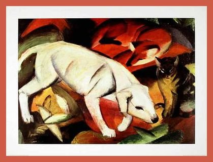 Franz Marc A dog a Fox and a Cat Poster Kunstdruck Bild im Holz Rahmen in Orange 60x80cm (Orange Cat-bild-rahmen)