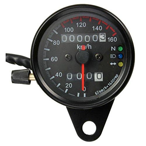 Motorrad Kilometerzaehler Tachometer - SODIAL(R) Motorrad Dual-Kilometerzaehler Tachometer Messgeraet LED-Hintergrundbeleuchtung kmh 12V Schwarz