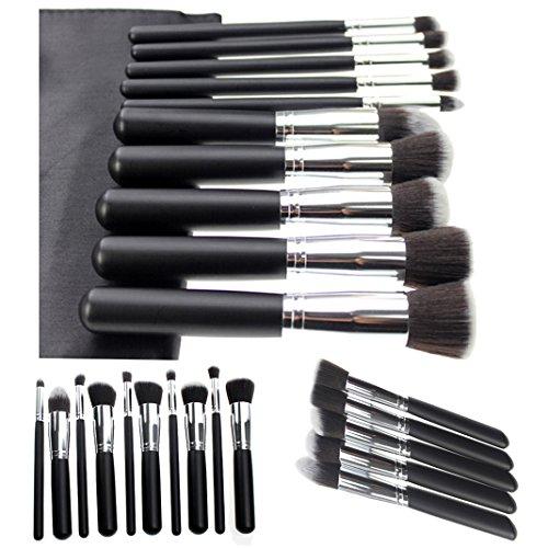 Moon mood® Kit de 10 Professionnels Multifonctionnel Pinceaux de Maquillage Brosser Cosmétiques en Fibre de Maquillage de Fard à Paupières Eyeliner Cosmétique Foundation Brush (Manipuler En Noir + Argent Tuyau)