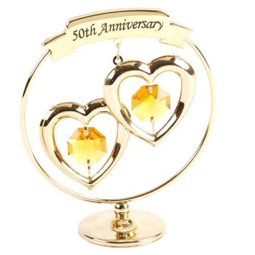 Crystocraft Golden Wedding 50th Anniversary Swarovski Crystal Cake Topper Décor